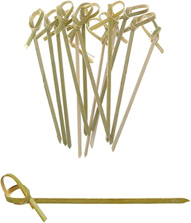 Prexware 6 Inch Bamboo Knot Skewers Twisted Ends Bamboo Picks Cocktail Picks 200 Ct.