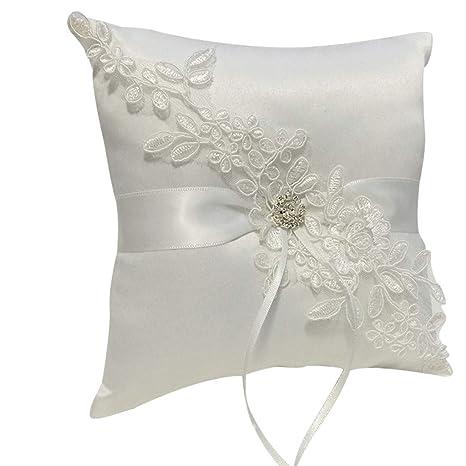 Almohada de encaje de seda con cuentas de perlas, cojín de ...