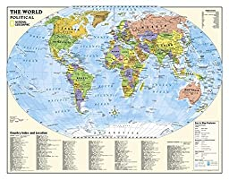 National Geographic - Laminated Kids Political World Education Map (Grades 4-12) Giant Poster by National Geographic 51 x 40in