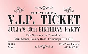 40 magnetic birthday party invitations personalised pink vip ticket 40 magnetic birthday party invitations personalised pink vip ticket for 18th 21st 30th 40th 50th filmwisefo