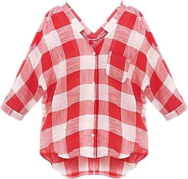 Camisas Mujer Manga Larga V Cuello A Cuadros Blusas Basic ...