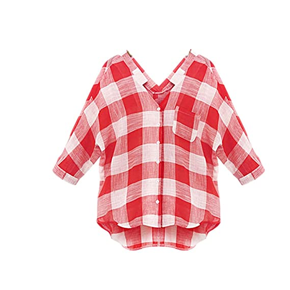 Camisas Mujer Manga Larga V Cuello A Cuadros Blusas Elegantes Anchas Casual Un Solo Pecho Moda