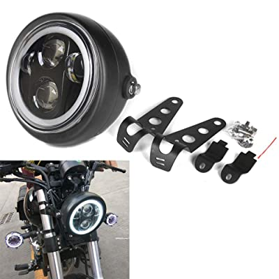 HOZAN Black 5.75 5-3/4inch LED Motorcycle Headlight White DRL with Headlight Housing for Kawasaki Honda Shadow Harley Suzuki Motorbikes Metric bikes Cruisers Choppers: Automotive