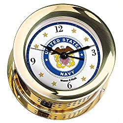 Weems & Plath Atlantis Brass Quartz Ship's Bell Clock #NV200100 01B (#8 Emblem Printed in Full Color with Black Numbers, Gold Stars, and Navy Blue Border)