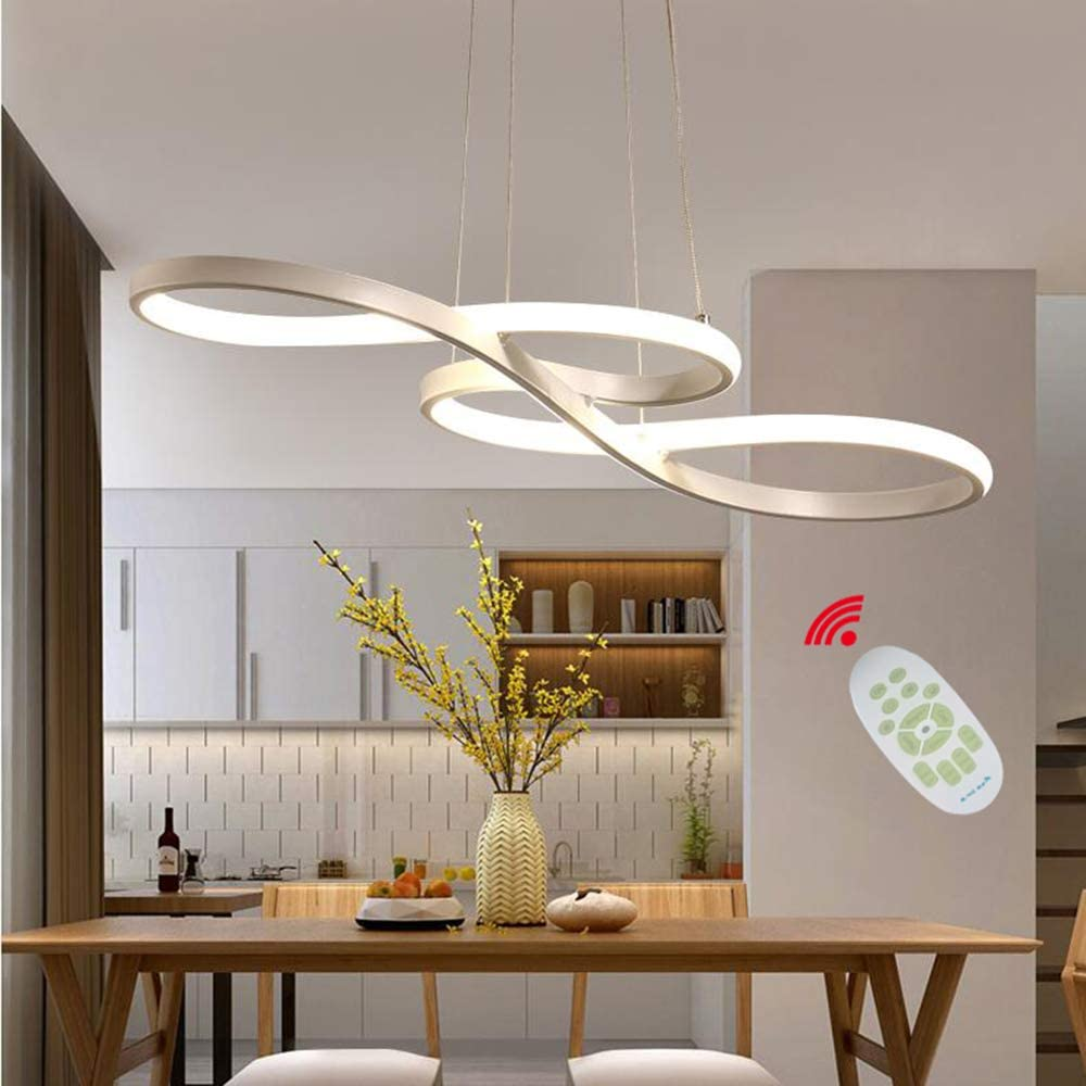 Modern Pendant Lighting White Led Pendant Light For Contemporary Living Dining Room Kitchen Island Dimmable Chandelier Dimming Ceiling Lamp Minimalist Wave Hanging Light Fixture With Remote White Amazon Com