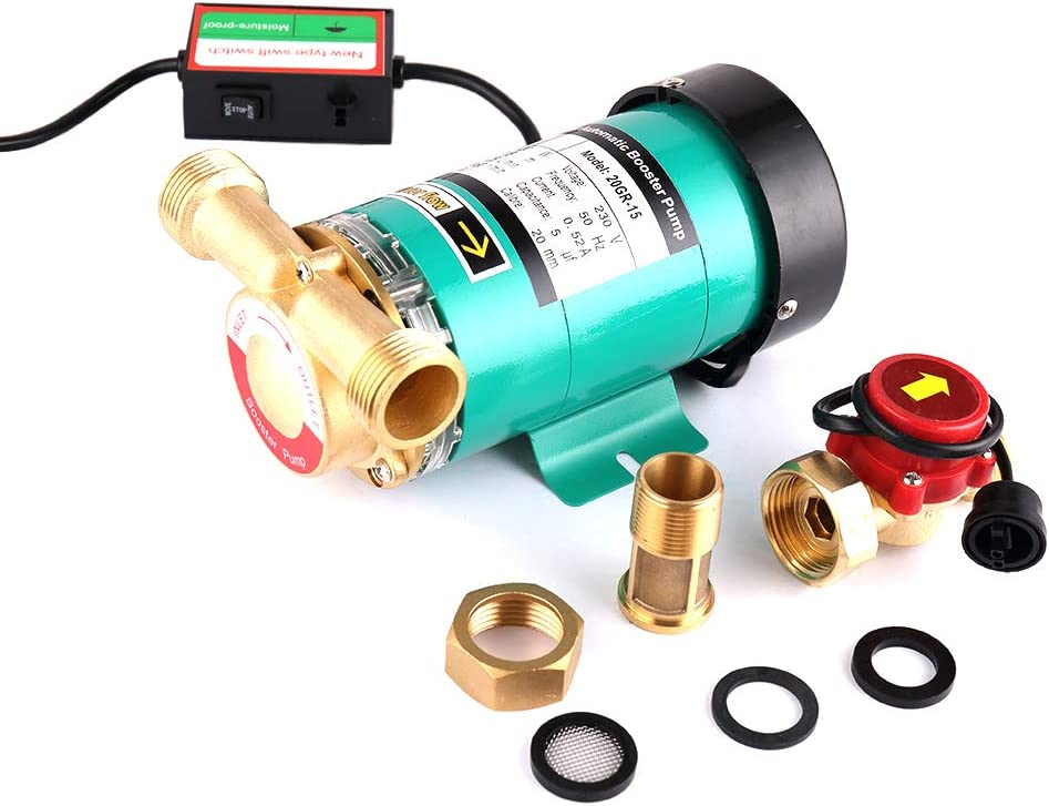 SHYLIYU Bombas de presión automáticas Bomba de refuerzo Bomba de agua caliente con interruptor de flujo de agua de latón para el hogar/ducha Lavadora 1