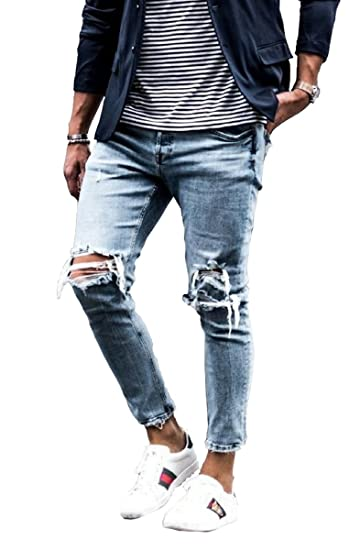 c83ea6d26fe Sarriben Men's Distressed Street Style Destroyed Skinny Slim Fit Ripped  Jeans Blue at Amazon Men's Clothing store: