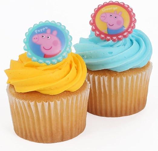 Amazon.com: Panadería Crafts – Peppa Pig Cupcake Topper ...