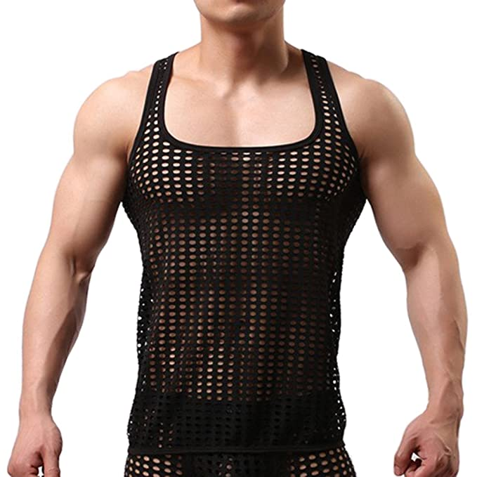 9e8676383b614 Mendove Men s Mesh See Through Muscle Fishnet Tank Top Underwear US M Black