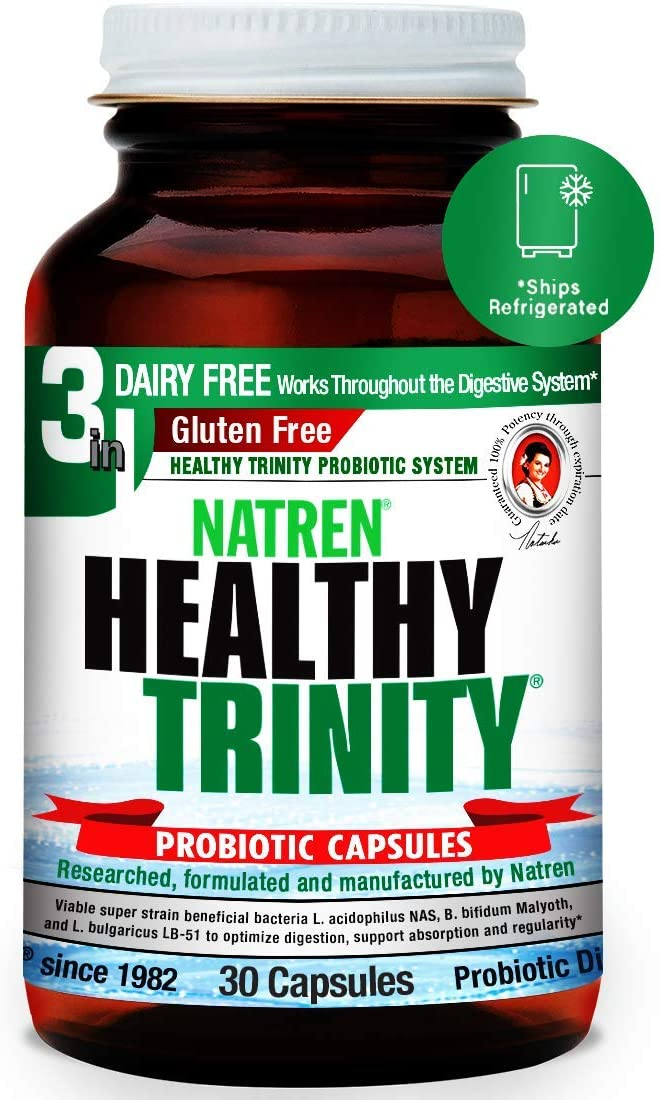 Natren Healthy Trinity Probiotics Supplement - 30 Dairy and Gluten Free Gel Capsules - Improve Gut and Digestive Health, 30 Billion CFU - Lactobacillus Acidophilus, Bifidobacterium, Bulgaricus