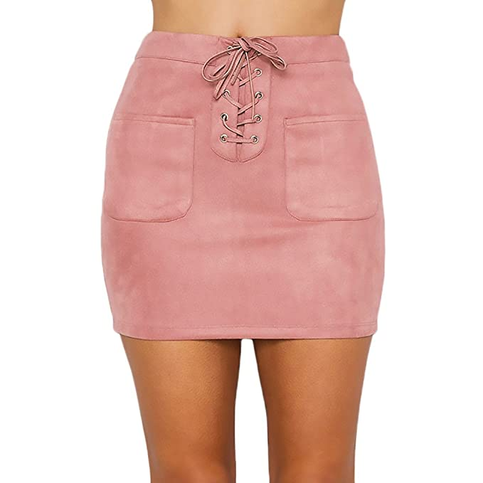67fc0c472 Faldas Mujer Vintage Gamuza Ropa En Oferta Moda Vendaje Faldas Cortas  Elegantes Talle Alto con Bolsillo Color Sólido Otoño Invierno Falda Tubo  Minifalda: ...