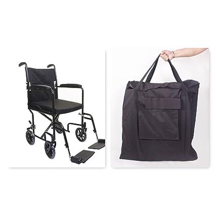 Ligera silla de ruedas de tránsito plegable en una bolsa