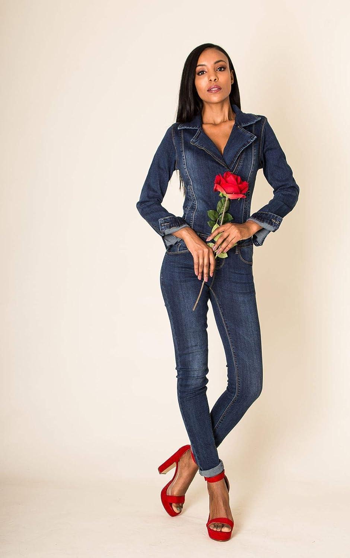 EGOMAXX Damen Jeans Anzug Overall Biker Jumpsuit Hosenanzug Einteiler Asymmetrisch