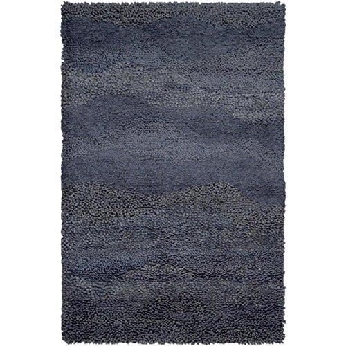 (CC Home Furnishings 2' x 3' Berme Pewter Gray Wool Shag Area Throw Rug)