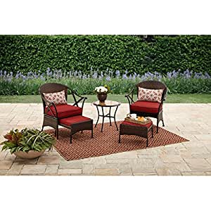 Mainstays 5-Piece Skylar Glen Outdoor Leisure Set, Red, Seats 2