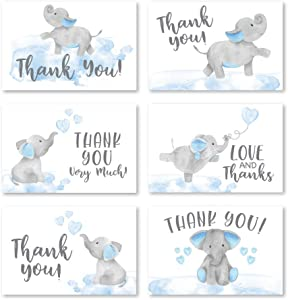 24 Blue Elephant Baby Shower Thank You Cards With Envelopes, Kids Thank You Note, Animal 4x6 Varied Gratitude Card Pack For Party, Boy Children Birthday, Cute Event Appreciation DIY Bulk Stationery