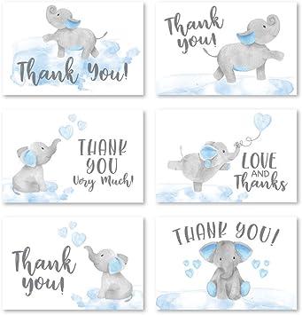 Digital Download Elephant Thank You Blue Printable Thank You Note Baby Boy Shower Games Blue Little Peanut GecePrintables #BBE