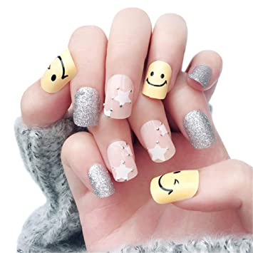 Amazon.com : 24pcs False Nails, Artificial Nails Short Cute Style with Glue for Nail Art Decoration : Beauty