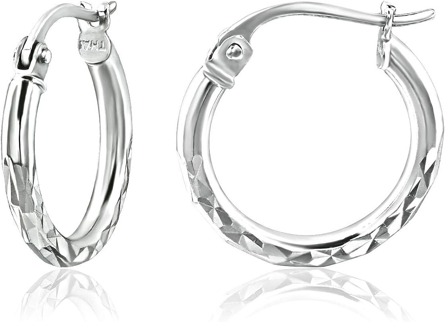 Sterling Silver 2mm Width Diamond-Cut Round Hoop Earrings, 15mm-60mm