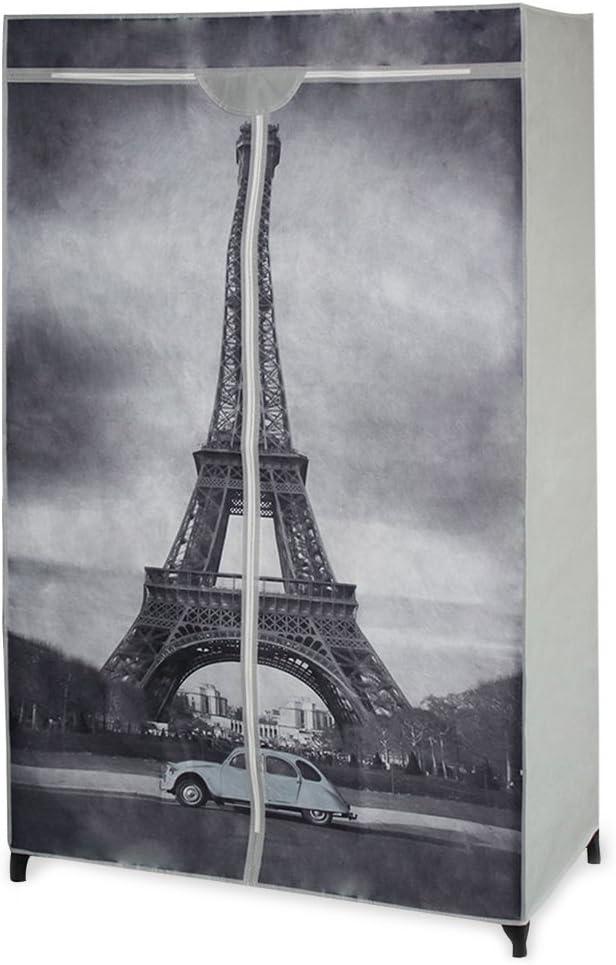 neu.holz] Armario Plegable - Armario ropero Textil - Ideal para Ropa de Temporada y Estudiantes diseño Torre Eiffel