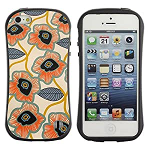 Paccase / Suave TPU GEL Caso Carcasa de Protección Funda para - Leaves Pattern Hand Drawn Art Flower - Apple Iphone 5 / 5S