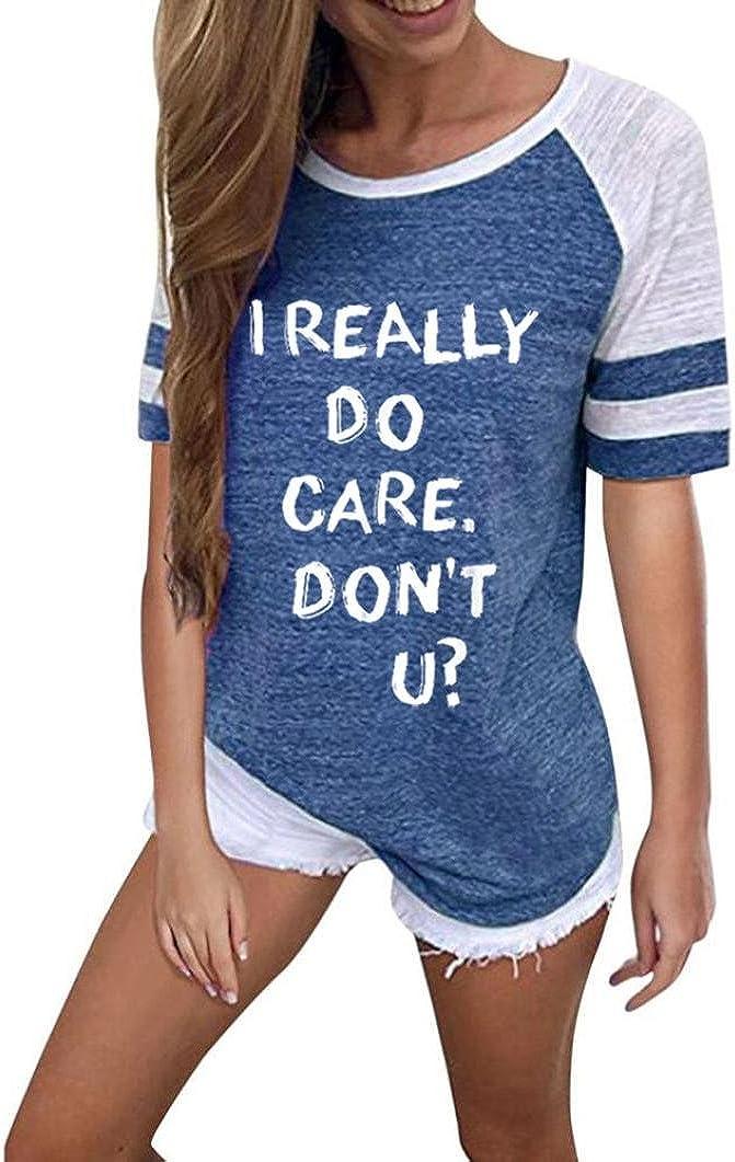 Do U Spielraum Mode Frauen Brief Drucken Kurzarm Splice Bluse Tops Kleidung T-Shirt BZLine I Really Dont Care