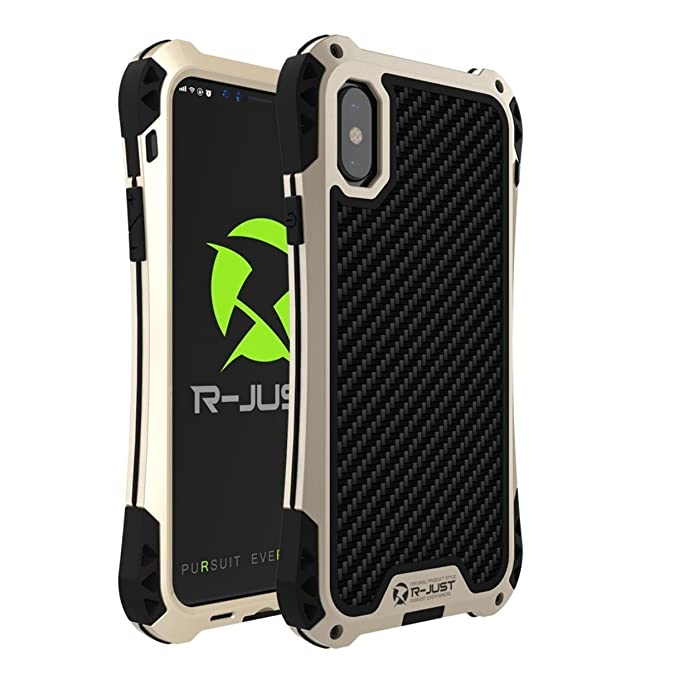 the latest 1ddef 82aa3 iPhone X Armor Case, R-Just Extreme Shockproof Aluminum Metal Case Carbon  Fiber Case Heavy Duty Cover For Apple iPhoneX (Black Gold)