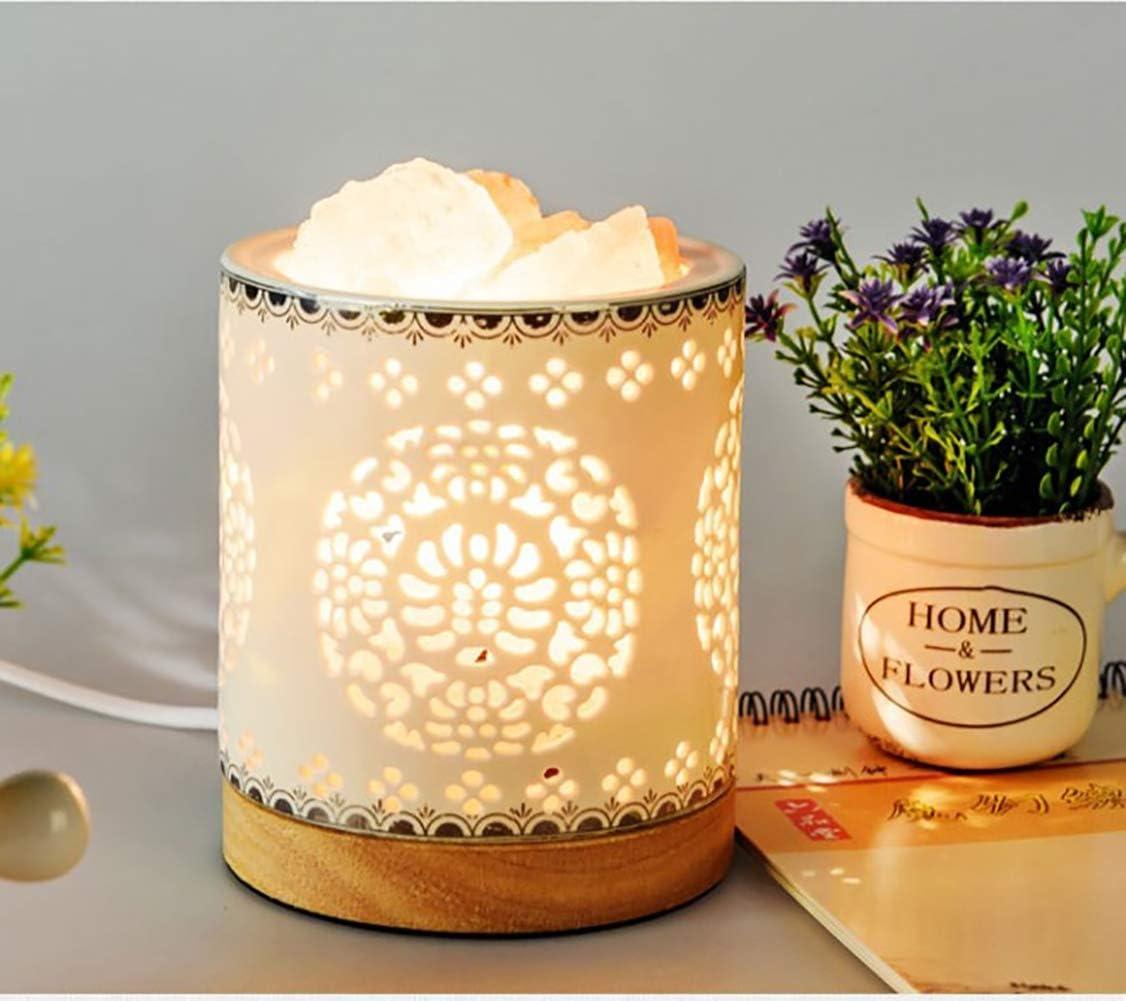 Inneneinrichtungen Handgeschnitzt Massage Geschenke Reine Salzkristalle in Einer Handgefertigten Und Hohlen Keramikschale Luftreinigung Douup Himalaya-Salz Lampe Mit Holzsockel
