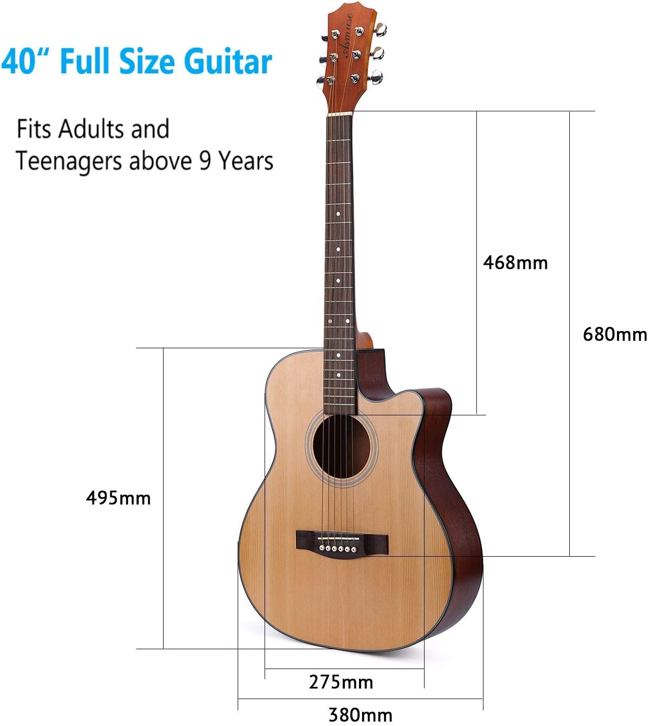 Asmuse Guitarra Acústica Dreadnought 41 Pulgadas para Guitarra ...