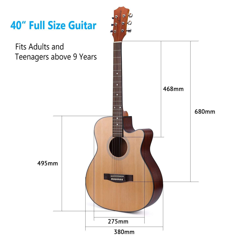 Asmuse Guitarra Acústica Dreadnought 41 Pulgadas para Guitarra principiante con Set de Accesorios: Amazon.es: Instrumentos musicales