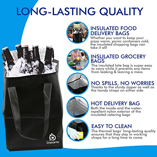 Commercial Quality Food Delivery Bag- 2 Piece Set Black Delivery Bag for Food- 13'' x 9'' x 9'' Dimensions- 80 GSM Nonwoven Polypropylene- Practical and Comfortable by Diskarte (Image #1)