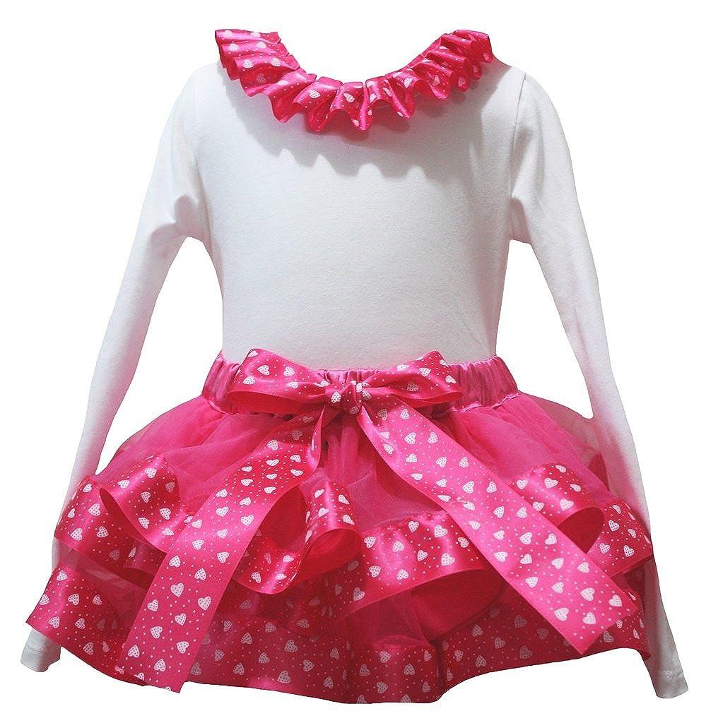 Petitebella Plain White L//s Shirt Hot Pink Valentine Heart Petal Skirt Set Nb-8y