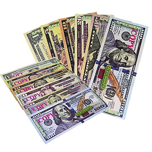 KIDSTHRILL Copy Fake Play Money Double Sided Movie Prop Money — 12 of Each Domination Bill —Great for Pretend Play Kids Boys & Girls Age 3 and Up