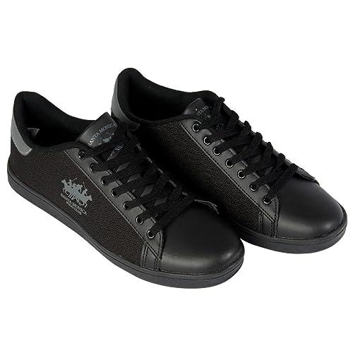 Santa Monica Polo Club Zapatillas Hombre De Marca Cordones Deporte Calzado Zapatillas - Negro, 9 UK: Amazon.es: Zapatos y complementos