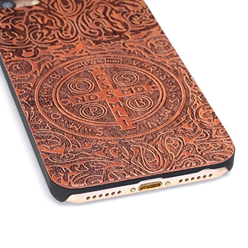 Sunroyal® Madera Shell Funda Cover iPhone 6 Plus 6S Plus 5.5  Caso Retro Madera Cubierta Caja de Bambú Premium Trasera Dura Contraportada Patrón Pattern Lujo Carcasa Hecho a Mano Funda Protección Woo A-08