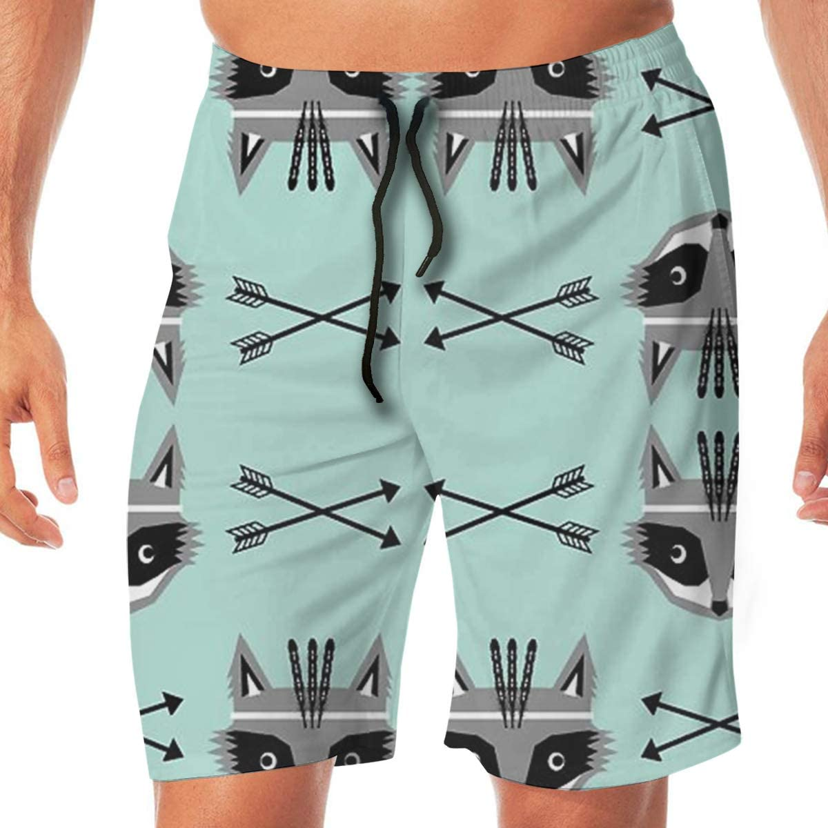 MaoYTUI Raccoon Arrows Southwest Mens Swim Trunks Boys Quick Dry Bathing Suits Drawstring Waist Beach Broad Shorts Swim Suit Beachwear with Mesh Lining