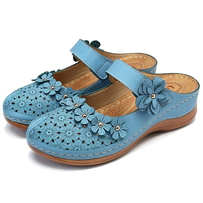 Driuankeji Summer Shoes for Women Girls Cute Flower Hollow Closed Toe Sandals Ladies Comfortable Soft Sole Shoes