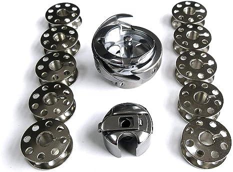 Gancho giratorio y estuche de bobina y 10 bobinas para máquina de coser Juki Ddl-555 5550 8700: Amazon.es: Juguetes y juegos
