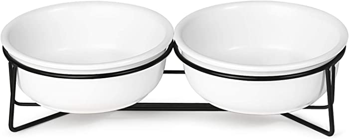 MUZITY Ceramic Raised Cat Small Dog Bowls, Pet Food and Water Dishes with Metal Stand,12 Ounces