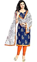 Rensil Women's Blue Color Cotton Fabric Dress Material