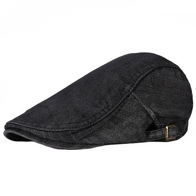 UKERDO Sólido Denim Ornitorrinco Plano Sombreros Taxista Vendedor de Periódicos Equipado Gorras para Hombre (A): Amazon.es: Ropa y accesorios
