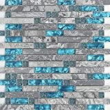 glass tile bathroom  11-Sheets Gray Marble Backsplash Wall Tiles, Teal Blue Glass Bathroom Shower Tile, Random Interlocking Patterns Mosaic for Kitchen 9805