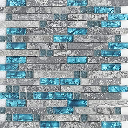 11-Sheets Gray Marble Backsplash Wall Tiles, Teal Blue Glass Bathroom Shower Tile, Random Interlocking Patterns Mosaic for Kitchen 9805