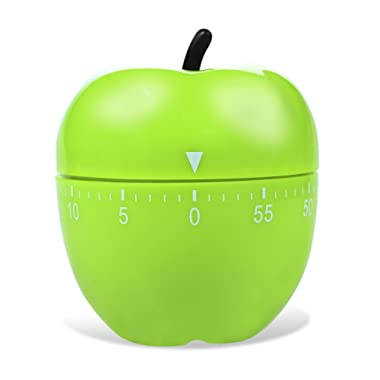 Cute Creative Green Apple Timer for Home Kitchen Manual Mechanical Countdown Timer 60 Minutes with Ringing Alarm for Home Cooking Baking