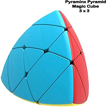SAISAN Pyraminx Pyramid Triangle Speed Smooth Moving Cube Magic Rubic Brainstorming Puzzle Cubes 3 x 3 Size - Model Number 8975