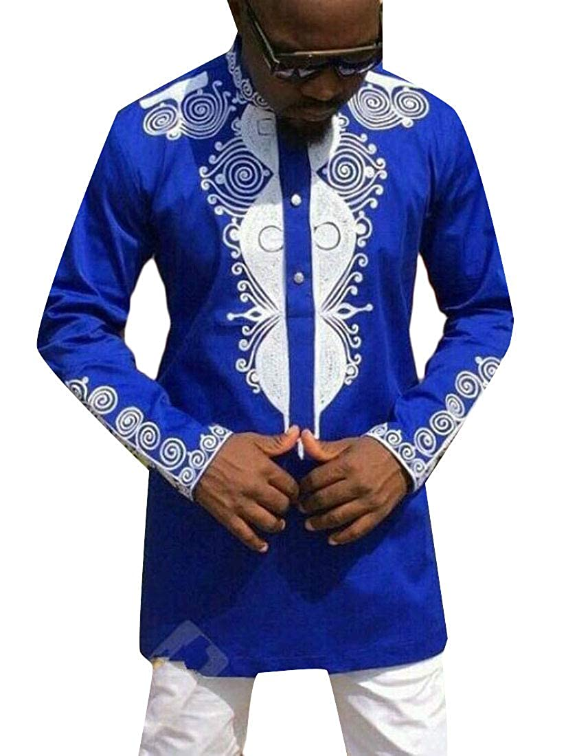 Rrive Mens Stylish Stand Collar Long Sleeve African Print Dashiki Shirts