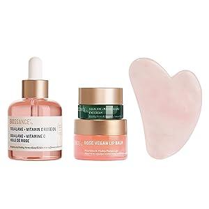 Biossance Radiant Beauty Collection Kit - 4-Piece Facial Set - Moisturizing Squalane + Vitamin C Rose Oil, Rose Lip Balm, Marine Alage Eye Cream + Gua Sha Facial Lifting Tool - Vegan + Fragrance-Free