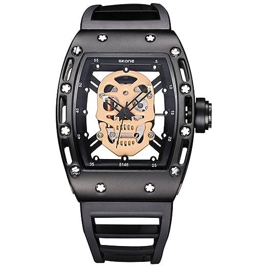 Calavera estilo hombres de cuarzo relojes marca hombres reloj de silicona hombres deportes militar: Amazon.es: Relojes