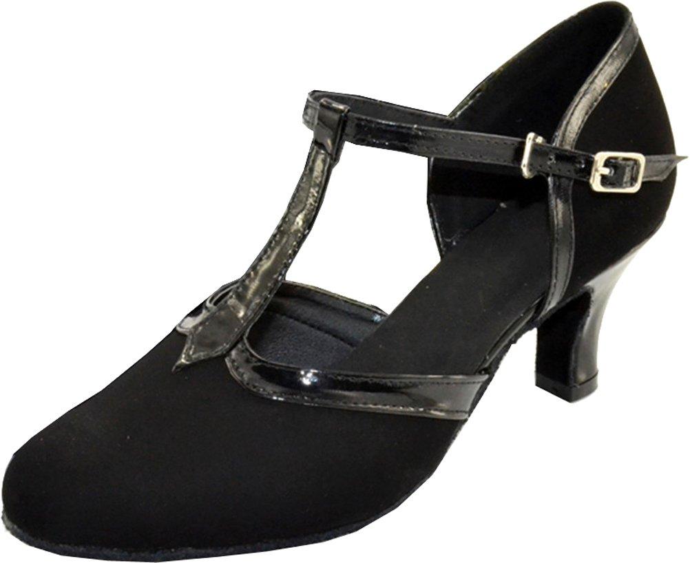 Fifly Womens Comfort Latin Modern Tango Cha-cha Custom Heel T-bar Closed-toe Down Professional Dance-shoes Black US Size6.5(2IN)