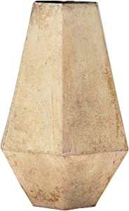 7.75-Inch Modern Geometric Metal Flower Vase Decor with Champagne Gold Finish - Rustic Tabletop Decoration - Decorative Home Accent